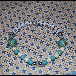 ' happy camper ' teal beach bracelet